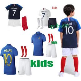 1919 2019 FFF França Especial Edição Centenário HENRY camisa de futebol de 2 estrelas mbappe GIROUD GRIEZMANN kante 18 19 camisa ZIDANE Franc Kids Kits em Promoção