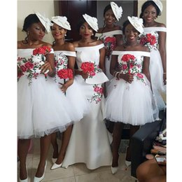$enCountryForm.capitalKeyWord NZ - African Black Girls Short Bridesmaid Dresses Off Shoulder Ball Gown Party Dress Wedding Guest Dresses Maid Of Honor Gowns 2019 Long