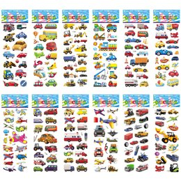 $enCountryForm.capitalKeyWord UK - Stickers 12 Different Sheets Crtoon Traffic Car Aircraft DIY Stickers Toys PVC Scrapbook for Children Diary Notebook Decoration Gifts