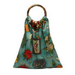 Bucket Handles Wholesale Australia - 2019 New National Floral Printing Cloth Women Tote Bag Bamboo Handle Handbag Lady Light canvas Shoulder Messenger Bag Bolso
