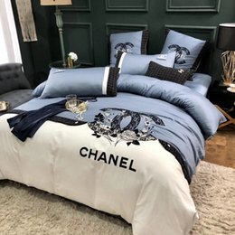 $enCountryForm.capitalKeyWord NZ - Luxurious Design Flower Embroidered Quilt Cover New Women Dress Design Same Style Bedding Supplies Blue White Stripe X Letter Bedding Sets