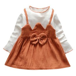 Discount kids white casual wedding dress - Girls Dress Vestidos Patchwork Autumn Pink Bow Princess Kids Dresses For Casual Party Wedding Girl Baby Clothes Toddler