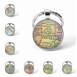 map keychain Australia - Newest Metal Keychain Handmade Vintage Greece World Map Earth Geography Key Chain Glass Dome Keychains For Men Women Gift