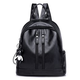 school bag day Australia - New Female PU Leather Shoulder Bag Fashion Simple Bark Grain Large Capacity Backpack Solid Color Wild Anti-theft Teens School Bag Travel Bag