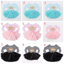 22dc9c455 Baby birthday princess dress striped sequin tutu dresses newborn bow party  for 1st 2nd 3th letter children clothes