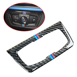 Headlight Cover Trim Australia - Fashion Carbon Fiber Headlight Switch Buttons Decorative Frame Cover Trim Dashboard Interior Molding Sticker for BMW F30 F34 Car Styling