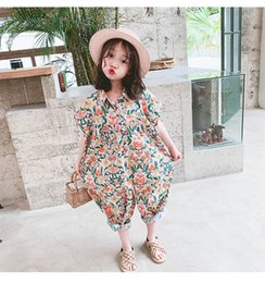 beach jumpsuit girls 2019 - Summer floral girls jumpsuit bohemia girl rompers kids designer clothes girls clothes beach pants kids clothes little gi