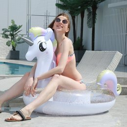 Discount children ride toys - 200cm Sparkly Pegasus Pool Float INS Hot Glitter Unicorn Ride-On Swimming Ring Adult Children Pool Party Inflatable Toys