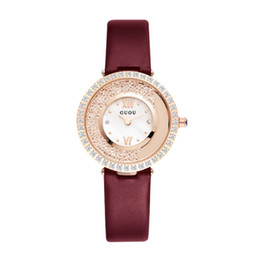 purple alloy UK - GUOU New Spin Ladies Watch Hollow Trend Fashion Leather Quartz Female Watch
