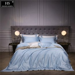 $enCountryForm.capitalKeyWord Australia - 140S Egyptian Sky Blue Luxury Modern Bedding Set 4Pcs King Queen Bed Sheet Duvet cover Pillow shams Simple Bright Hollow 1000TC