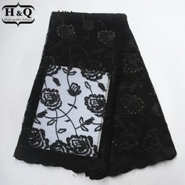 $enCountryForm.capitalKeyWord Australia - Black African Lace Fabric Latest Tulle France Embroider Lace Beads With Stones Nigeria Guipure Lace Fabric For Party Dress