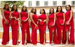 $enCountryForm.capitalKeyWord NZ - Elegant Red One Shoulder Mermaid Bridesmaid Dresses With Wrap Floor Length custom Made Wedding Guest Dresses