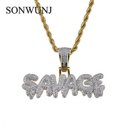 stone hip chain NZ - Hip Hop SAVAGE Letter Pendant Copper Micro pave with CZ stones Necklace 24inch Rope Chain CN040