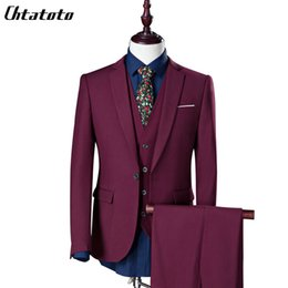 Large Size Suits Australia - Costume Homme Real 2018 New Fashion Men's Business Casual Three-piece Suit Jacket Groom Groomsman Wedding Large Size One Button Y190420