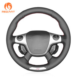 car hand wheel Canada - MEWANT Black Genuine Leather Hand-stitched Car Steering Wheel Cover for Ford Focus 3 ST 2012-2014