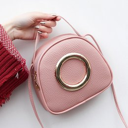 Wholesale Women PU Leather Handbags Fashion Ring Decoration Female Small Mini Cool Shoulder Crossbody Hand Bag for Little Girls Kids