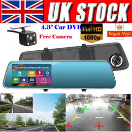 4.3'' FHD 1080P Dual Lens 140 Degrees Car DVR Camera Rearview Mirror Digital Dash Cam Video Recorder Front and Rear Camera LCD on Sale