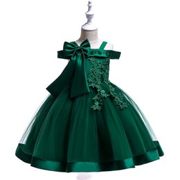 Children Straight Gown Styles UK - New Lace embroidery girl hammock Tutu Dress 2019 Costumes Children Clothing Kids Clothes Wedding Events bow Girl Dress for Party