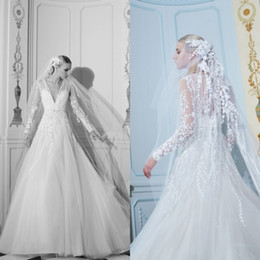 custom made elie saab dresses Australia - 2020 Elie Saab Wedding Dresses Deep V Neck Lace Appliqued A Line Sweep Train Boho Wedding Dress Custom Made Long Sleeve Bridal Gowns