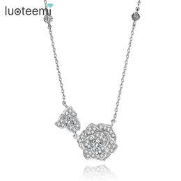 $enCountryForm.capitalKeyWord UK - Pendant Necklaces LUOTEEMI Fashion Beautiful Two Flower Cut Necklace for Women Luxury Elegant Necklace Jewelry