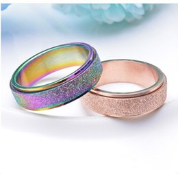 Wholesale 316L Titanium Steel Rotatable Rings Colored Pearl Matte Lettering Ring DIY Fashion Jewelry For Woman Gifts