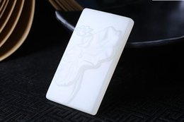 $enCountryForm.capitalKeyWord Australia - Fine Jewelry Natural White Hand-carved Chinese Hetian White Jade Lotus Pendant +Rope Necklace Free Shipping
