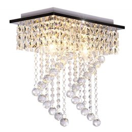 $enCountryForm.capitalKeyWord UK - Flush Mount Light Fixture Modern Crystal Chandelier Ceiling Light Square Aisle Corridor Crystal Living Room Bedroom Ceiling Lamp