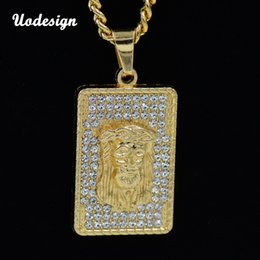 gold jesus face pendant Australia - Uodesign New Hip Hop Gold Color Masked Jesus Face Pendant Necklace Crystal Jesus Piece Jewelry With Free Cuban Chain