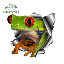 $enCountryForm.capitalKeyWord Australia - EARLFAMILY 13cm x 12.3cm 3D Frog Car Stickers Torn Metal Car Hood Decal Reflective Sticker Funny Animal Styling Accessories