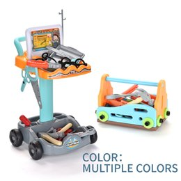 Wholesale TW2004048 Children's Tools Trolley Set 100 pieces of tools self-assembled shape trolley set and self-contained storage box DIY Independent