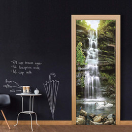 Play Room Wall Stickers Australia - Door Wall Mural Wallpaper Stickers Vinyl Removable Decals for Home Room Decoration Swans Play Under Waterfall