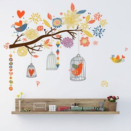 wholesale kids glasses Australia - Colorful Branch Bird Cage Wall Sticker Living Room Bedroom Home Decoration Kids Rooms Art Decals Wallpaper Creative Stickers