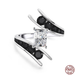 Discount unique finger rings for women - 100% Genuine 925 Sterling Silver Rings for Women Unique Design Forever Clear CZ Black Finger Rings Charm Female Jewelry