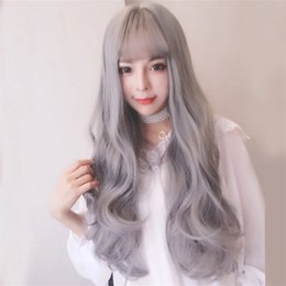 $enCountryForm.capitalKeyWord Australia - Korean models hot air bangs grandmother gray soft girl wigs Europe and the United States hairpiece factory direct sales