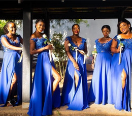 Blue Coral Beads Australia - Blue Side Split Bridesmaid Dresses 2019 Sheer Neck Floor Length Appliques Beads Plus Size Black Girl Garden Country Wedding Guest Gowns