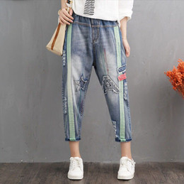 Guuzyuviz Autumn Winter Plus Size Jeans Woman Vintage Casual Print Hole Ripped Washed Cotton Denim High Wasit Pants Mujer Great Varieties Bottoms
