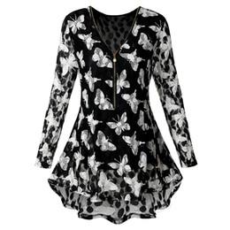 1cbb2b67b29165 wholesale Plus Size Lace Blouses Butterfly Print High Low Hem Shirts New  Spring Long Sleeve V-Neck Zip Up Women Blouse Blusas