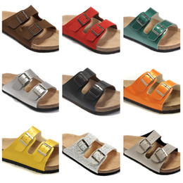 Wholesale Newest Genuine Leather Slippers Mens Flat Sandals Women Shoes Double Buckle Famous Brand Arizona Summer Beach Top Quality With Orignal Box