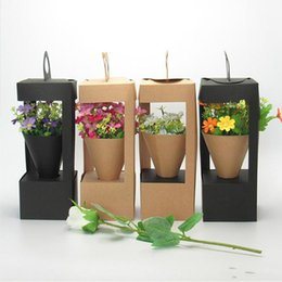 $enCountryForm.capitalKeyWord Australia - New Arrival Flowers Packaging Gift Boxes Floral Gift Bag lighthouse design Creative folding floral Packing Box Black Brown