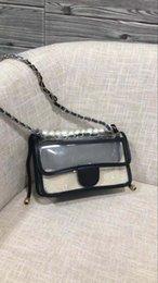 Free Pure Pearls Shipping Australia - Free shipping New European black pearl pvc Ladies shoulder bag Handbag Shoulder handbag pure nice quality for female giltter