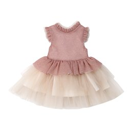 Wholesale Flower Girls Dress Princess Kids Baby Party Princess Vestidos Gift Lace Ruffle Tutu Party Bridesmaid Dress