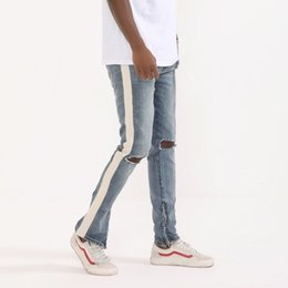 Discount zip jeans men - New Style Men Skinny Jeans Side-Stripe Zip-Ankle Jean Pants Slim-Fit Ripped Denim Pants Justin Justin Bieber Hip Hop Str