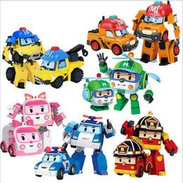 Discount poli car toys - 6pcs set Transformation Robot Car Toy Korea Poli Robocar Anime Action Figure Toys For Kids Gift Q190605