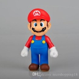 """mini mario toys 2019 - low price Discout New Super Mario 5"""" MARIO Action Figure Toy Red Hat Super Quality DOLL GIFT FOR KIDS T615 cheap mi"""
