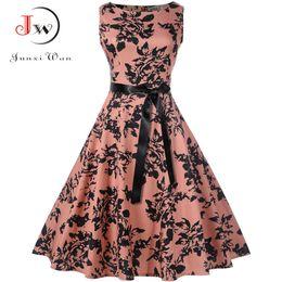 9b2b368830 Plus size verão dress mulheres rockabilly vestidos do vintage jurken floral 50  s 60 s retro grande balanço pinup party dress vestidos y190123