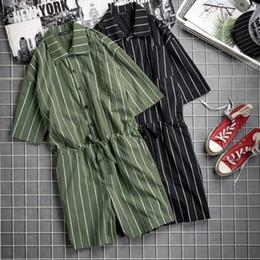 Man Fashion Jumpsuits Australia - 2019 Fashion Men Jumpsuit Striped Rompers Shortsleeve Pockets Loose Pants Hip-hop Playsuit Overalls Men Streetwear S-5XL INCERUN