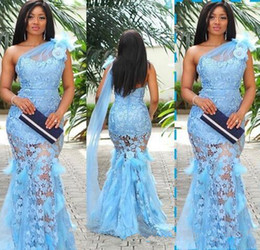 Discount stunning one shoulder dress - light sky blue stunning sexy mermaid Evening Dresses sheer 3d flower lace long prom formal dresses with Ostrich feather