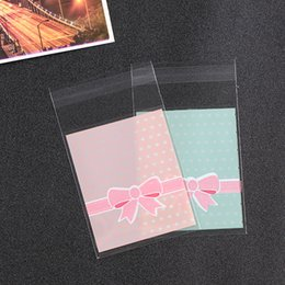 pink plastic bows Australia - 500PCS Cute Pink Bow Cookie Cellophane Bags Birthday Plastic Biscuit Bags Wedding Candy Packing Self Adhesive Bags OPP Bag 8x10
