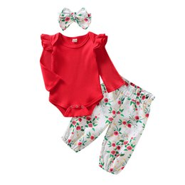 hot girls clothing Canada - 0-18M Toddler Infant Baby Girls Tops Long Sleeve T-shirt Floral Printed Pants Trousers 3Pcs Outfits Hot Baby Girls Clothes Set