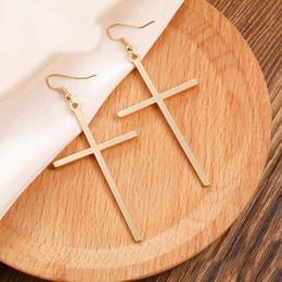 Cross ear men online shopping - New Arrival Fashion Punk Style Gothic Cross Dangle Earrings Women Men Unisex Exaggeration Rock Ear Piercing Jewelry Hang Hook Earrings